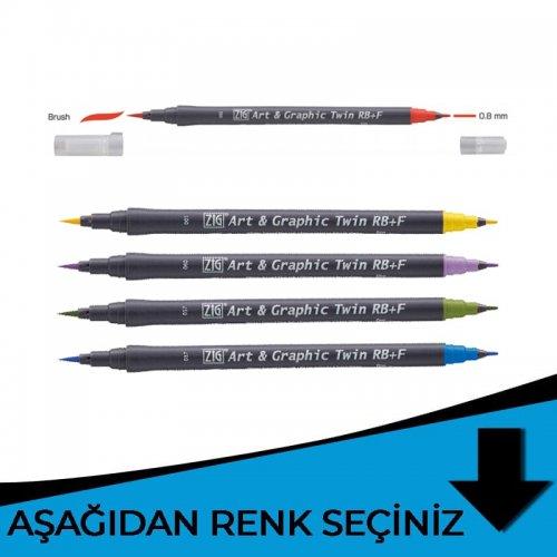 Zig Art&Graphic Twin RB+F Çift Uçlu Çizim Kalemi Mavi Tonlar