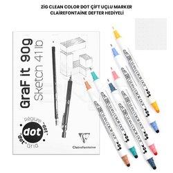 Zig - Zig Clean Color Dot Çift Uçlu Marker Clairefontaine Defter Hediyeli