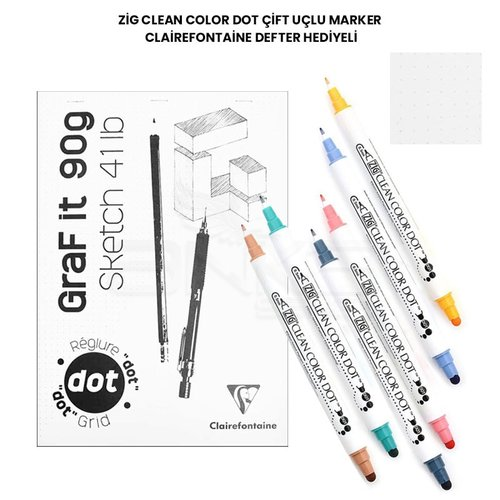 Zig Clean Color Dot Çift Uçlu Marker Clairefontaine Defter Hediyeli