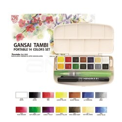 Zig - Zig Gansai Tambi Portable Set 14lü + Su Hazneli Fırça + 0.1mm Mangaka