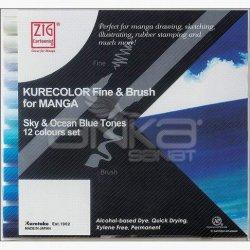 Zig - Zig Kurecolor Fine & Brush for Manga 12li Set Blue Tones