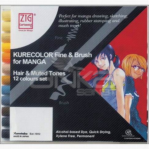 Zig Kurecolor Fine & Brush for Manga 12li Set Muted Tones