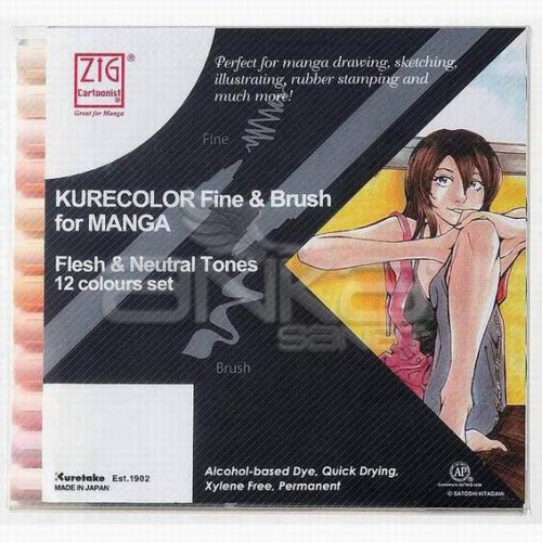 Zig Kurecolor Fine & Brush for Manga 12li Set Neutral Tones
