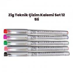 Zig - Zig Teknik Çizim Kalem Set 12 5li 0,05mm