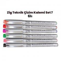 Zig - Zig Teknik Çizim Kalem Set 7 6lı 0,8mm