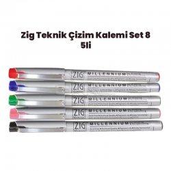 Zig - Zig Teknik Çizim Kalem Set 8 5li 0,1mm