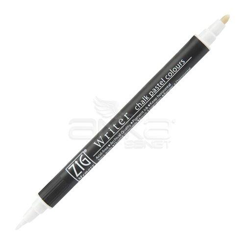 Zig Writer Chalk Pastel Colours Çift Uçlu Marker Kalem 0.5mm & 1.2mm White - White